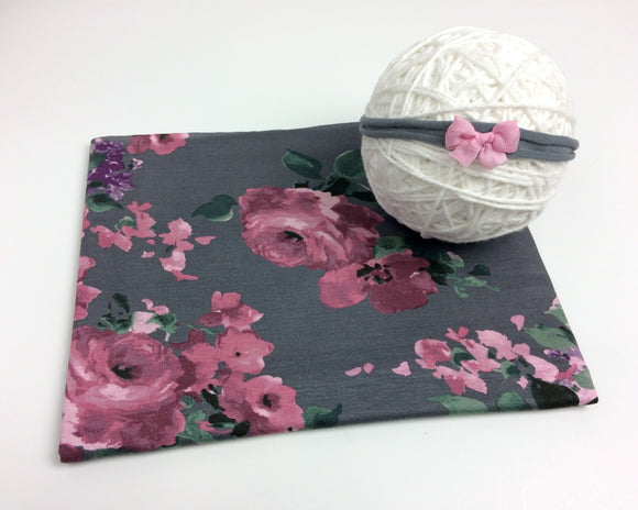 Grey & Pink Floral Newborn Stretch Jersey Wrap with Optional Tieback