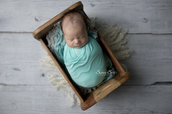Mint Newborn Stretch Wrap with Optional Sleepy Hat