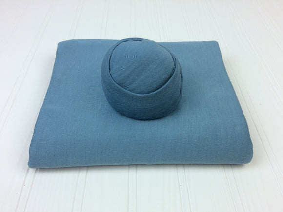 Ocean Blue Jersey Newborn Posing Fabric with Optional Wrap