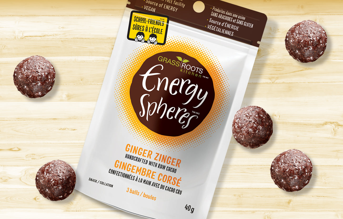 Single pack of Grass Roots Kitchen Energy Spheres in Ginger Zinger flavour.