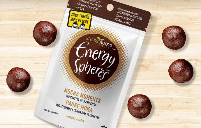 Single pack of Grass Roots Kitchen Energy Spheres in Mocha Moments flavour.