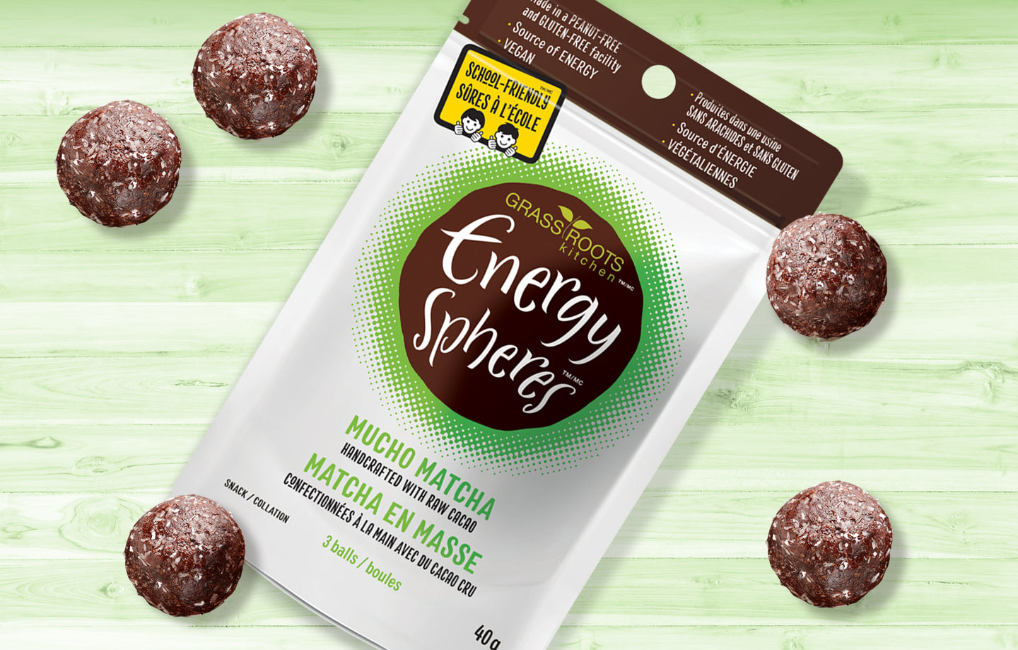 Single pack of Grass Roots Kitchen Energy Spheres in Mucho Matcha flavour.