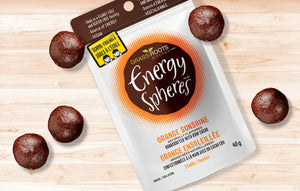 Single pack of Grass Roots Kitchen Energy Spheres in Orange Sunshine flavour.