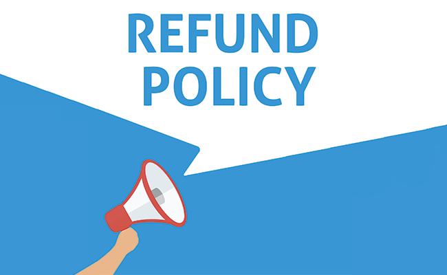 Refund policy text over bull horn