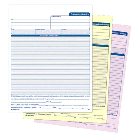 Three part carbonless forms with white, yellow, pink sheets.