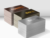 Stacks of business cards printed with foil
