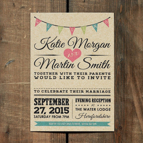 Brown kraft invitation printed full color