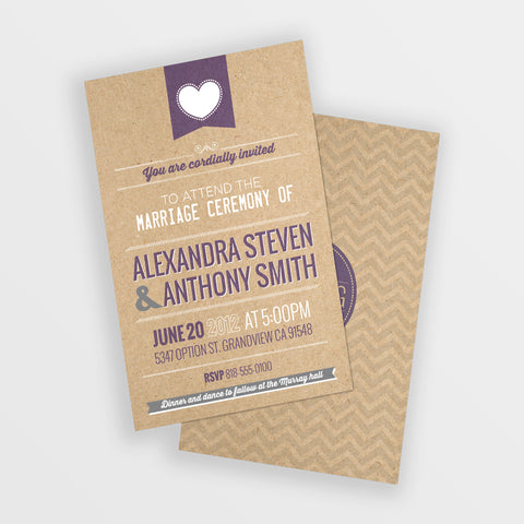 Brown kraft folded wedding invitation.