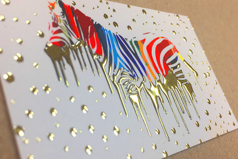 Suede Postcards with Raised Foil