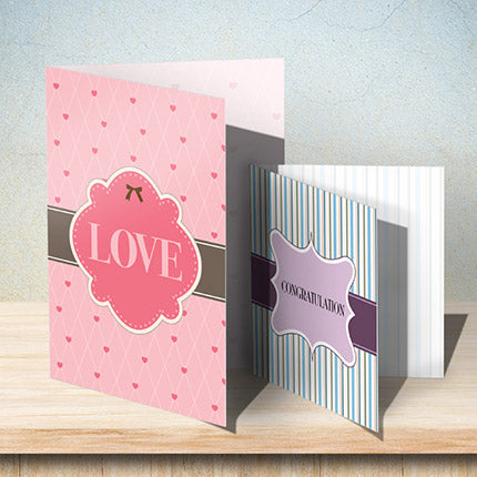 Folded full color printed greeting cards.