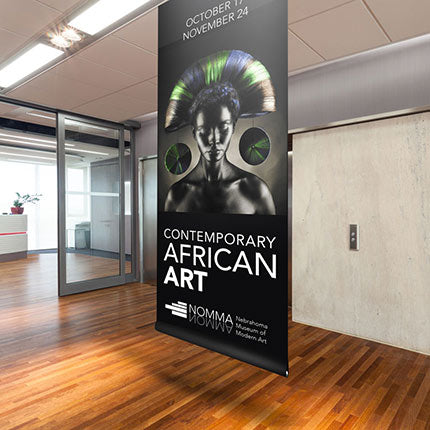 Full color printed indoor blockout vinyl banner in gallery