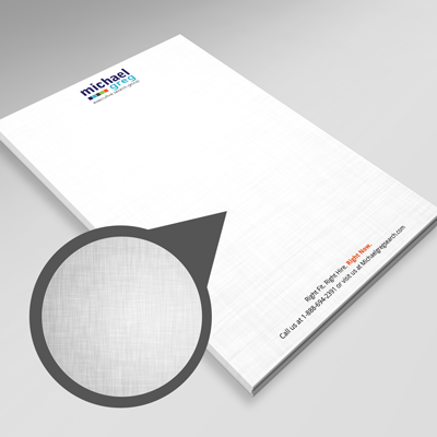 Full color printed letterheads printed on white linen text stock.