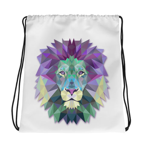 Drawstring bag custom printed with colorful polygonal lion head.