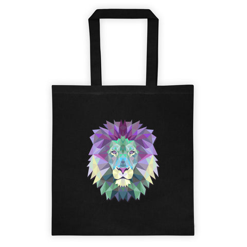 6 oz. black cotton tote bag printed with polygonal lion head.