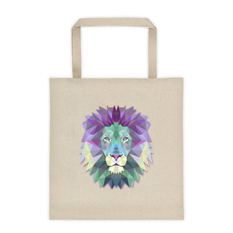 12 oz. cotton tote bag printed with polygonal lion head.