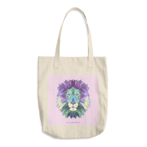 Cotton tote bag with direct to garment printed polygonal lion head image.