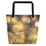 All-over printed beach bag with sparkly image.