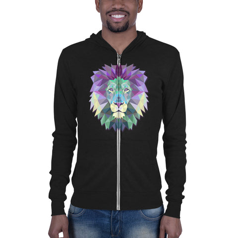 Custom printed black Bella + Canvas hoodie with colorful polygonal lion head.