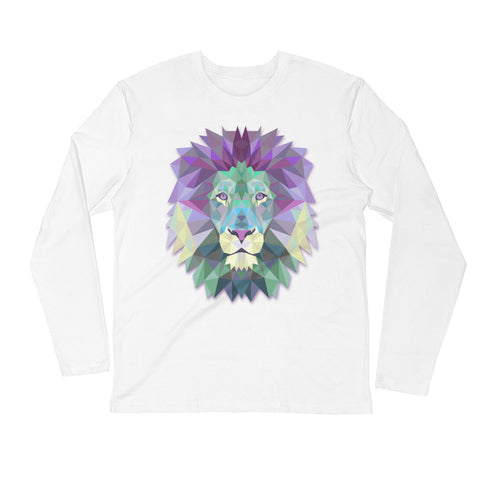Custom printed white Next Level long sleeve t-shirt with colorful polygonal lion head.
