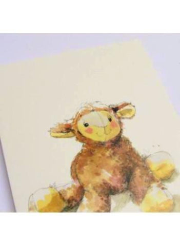 Natural white card stock greeting card with lamb illustration.