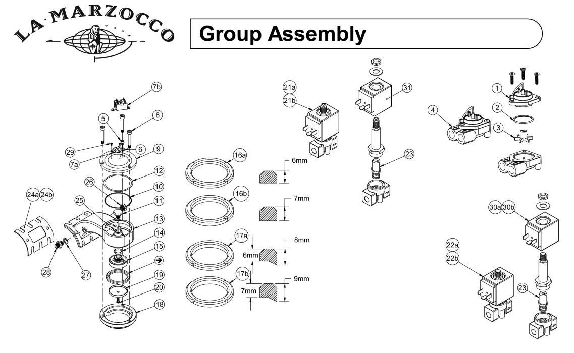La Marzocco Group Assembly Schematic