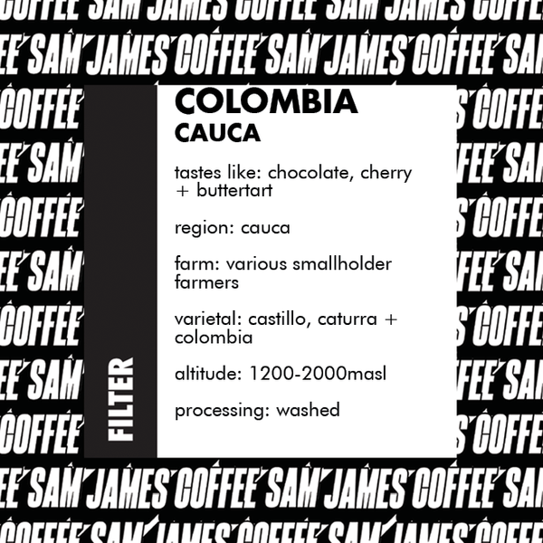 Sam James Coffee Columbia filter coffee label with detailed info on the beans