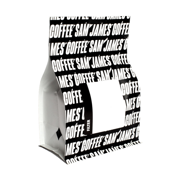 Sam James Coffee filter coffee bag with allover, black and white logo print.