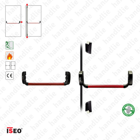 IDEA BASE - Vertical Bolts and Panic Bar - 3 locking points - 2 Leaves - Red