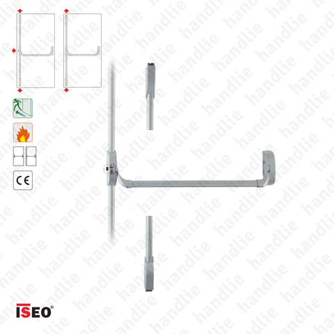 IDEA BASE - Vertical bolts - Panic bar with 2 and 3 vertical locking points - Metal Grey