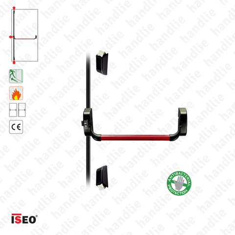 IDEA BASE - Vertical bolts - Panic bar with 3 vertical locking points - Red