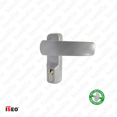TRIM 9401.11007T - Grey turning lever handle with cylinder (key) for ISEO/IDEA panic bars