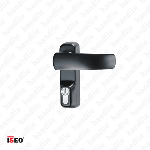 TRIM 9401.11005T - Black turning lever handle with cylinder (key) for ISEO/IDEA panic bars