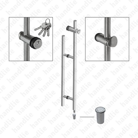 A.IN.8413P.850 - Back to back pull handle with lock for doors - Stainless Steel