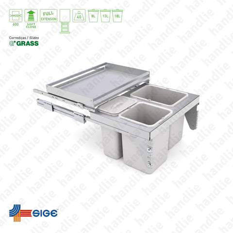 BL.575.P - Bin with full extension slide and extractable shelf