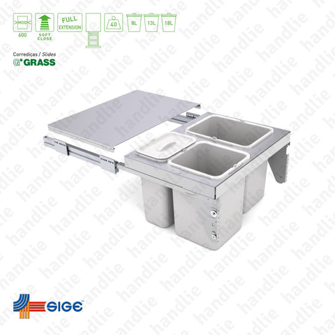 BL.575 - Bin with full extension slide and fixed shelf
