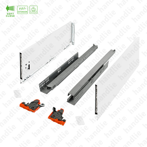 CL.190.1.121 - H.121 - SPM SLIM SLIDE - WHITE - Sides with Soft-Close slides for drawers and pull-outs / Full extension slide / 40kg