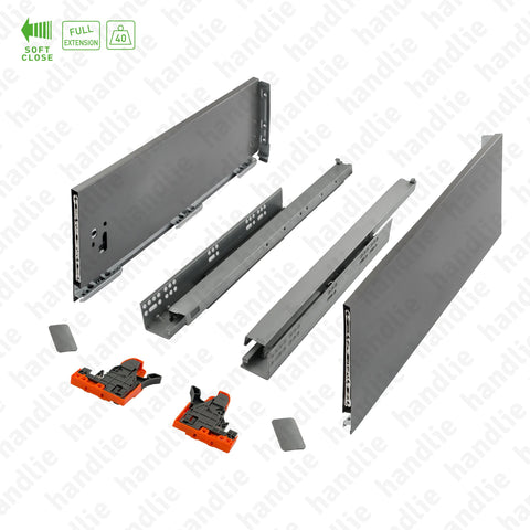 CL.190.1.185 - H.185 - SPM SLIM SLIDE - Sides with Soft-Close slides for drawers and pull-outs / Full extension slide / 40kg
