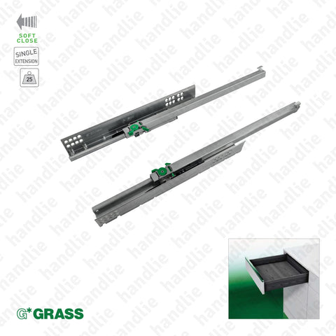 COR.7000 - DYNAMOOV TA - GRASS - Concealed slides with Soft-Close for drawers / Single extension slide / 25kg | GRASS