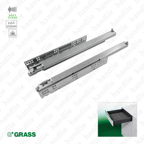 COR.7006.1 - DYNAPRO TMSC - GRASS - Concealed slides with Soft-Close for drawers / Full extension slide / 70kg | GRASS