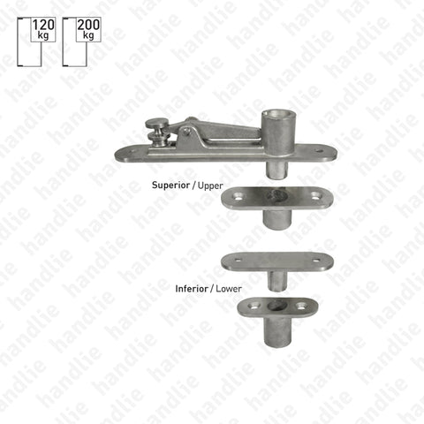 IN.05.197 - Pivots for single or double action doors - 200kg - Stainless Steel