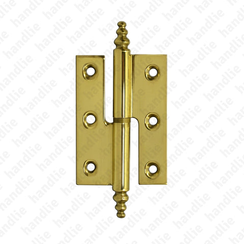 D.6911 - Lift Off Hinge with finial - Brass