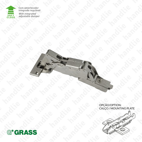 "D.GRA.F028.138.926 - ""TIOMOS"" hinge, 160º - With soft-close - 4D Adjustment 