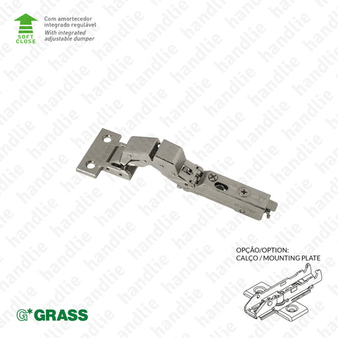 "D.GRA.F029.140.331 - ""TIOMOS"" M0 hinge, 125º - Hinge without cup - With soft-close - 4D Adjustment 