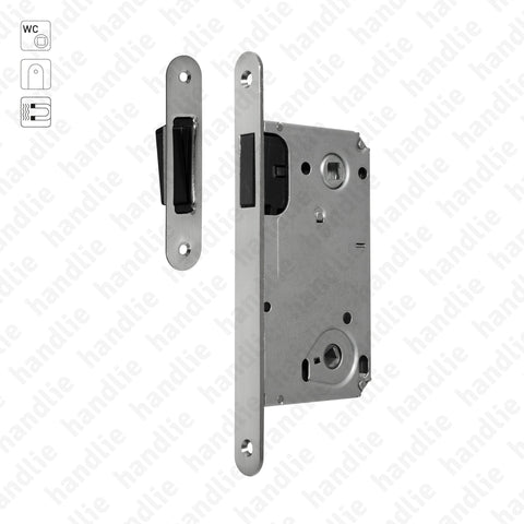 F.114.91.02.R - Magnetic mortise lock - WC / Double follower