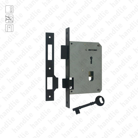 F.302.1.01 - Mortise lock with key for thumb latches - Black