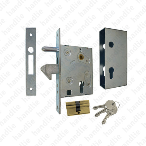 F.447.4.03 with hook - Mortise lock with strong oscillating hook for euro cylinder