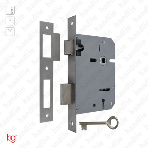 F.716.1.01 - Mortise lock with key - Square faceplate Stainless Steel / Brass