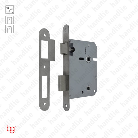 F.716.1.02.R - Bathroom mortise lock - Round faceplate - Stainless steel / Brass