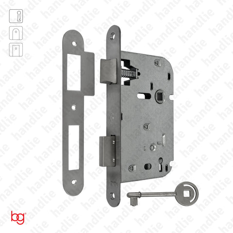 F.719.1.01.R - Mortise lock with key - Round faceplate - Stainless Steel