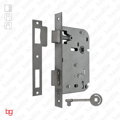 F.719.1.01 - Mortise lock with key - Square faceplate - Stainless Steel